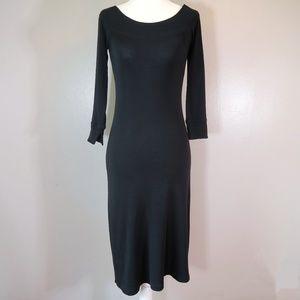 [Ralph Lauren] Black Cotton Knit Midi Dress Size S